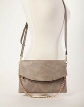 Flapover Handbag - Vegan Leather - Warm Grey