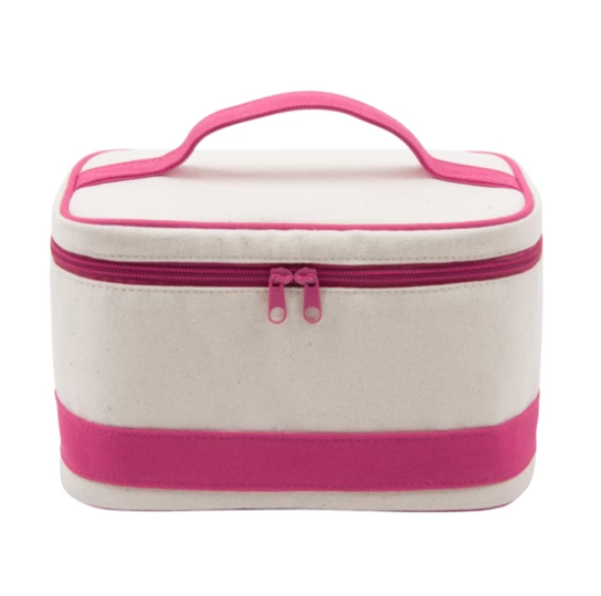 Canvas Train Case Cosmetic Travel Bag - Hot Pink