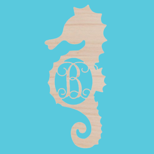 Wooden Monogram -- Seahorse Single Initial
