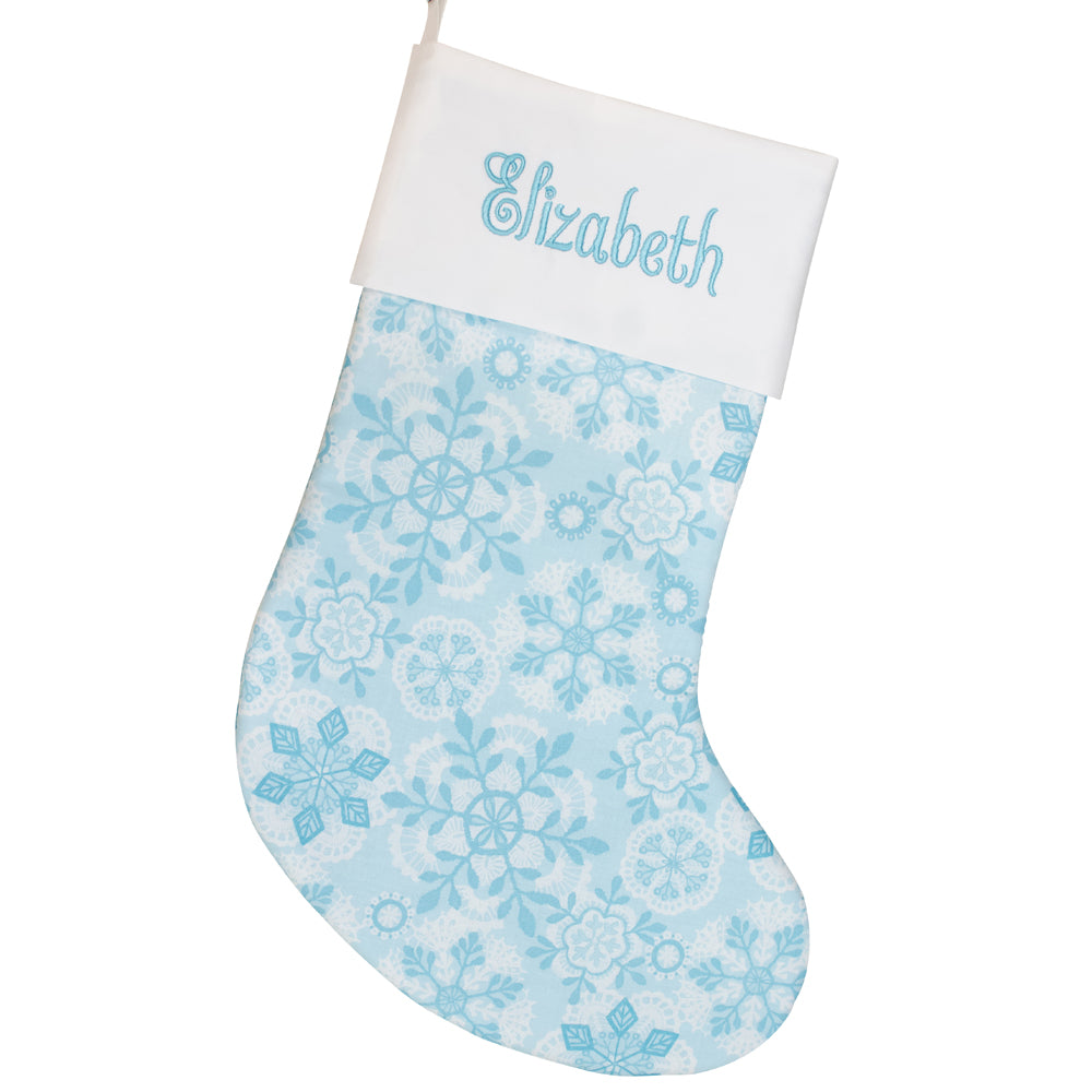 Personalized Christmas Stocking Embroidered Stocking Snowflakes Light Blue Christmas Decor Family