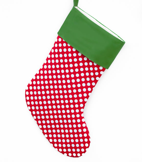 Large Christmas Stocking Polka Dots -- Personalized Stocking Option Available