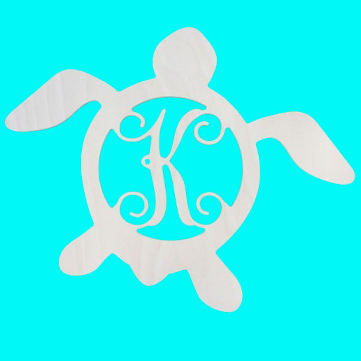 Wooden Monogram -- Turtle -- Single Initial