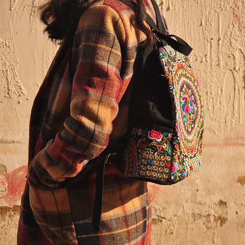 Handmade Embroidery Ethnic Backpack