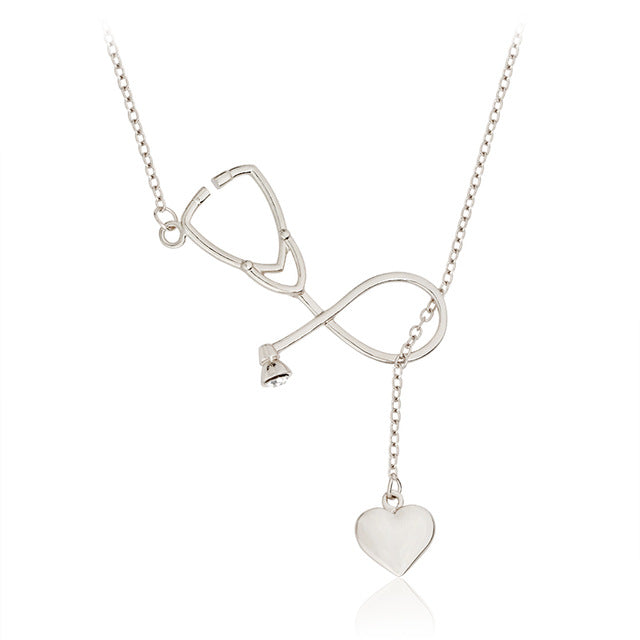 Stethoscope and Heart Necklace