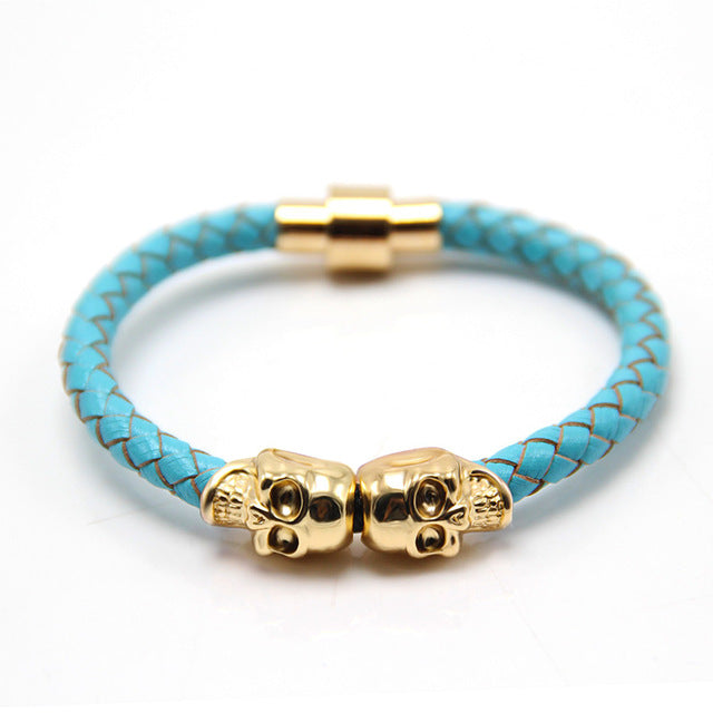 Leather and Copper Skull Bracelet