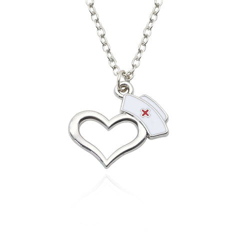 Heart Pendant With Nurse Hat Necklace