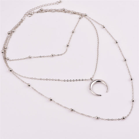 Image of Handmade Silver Layered Moon Necklace Choker