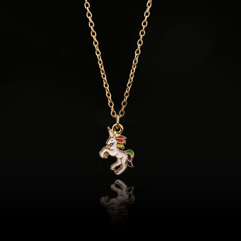 Image of Hand Enameled Unicorn Necklace
