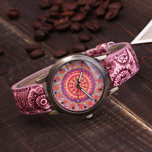 Leather Ethnic Style Flower Watch