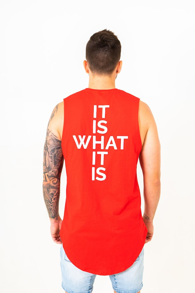 IIWII red Shield muscle tee