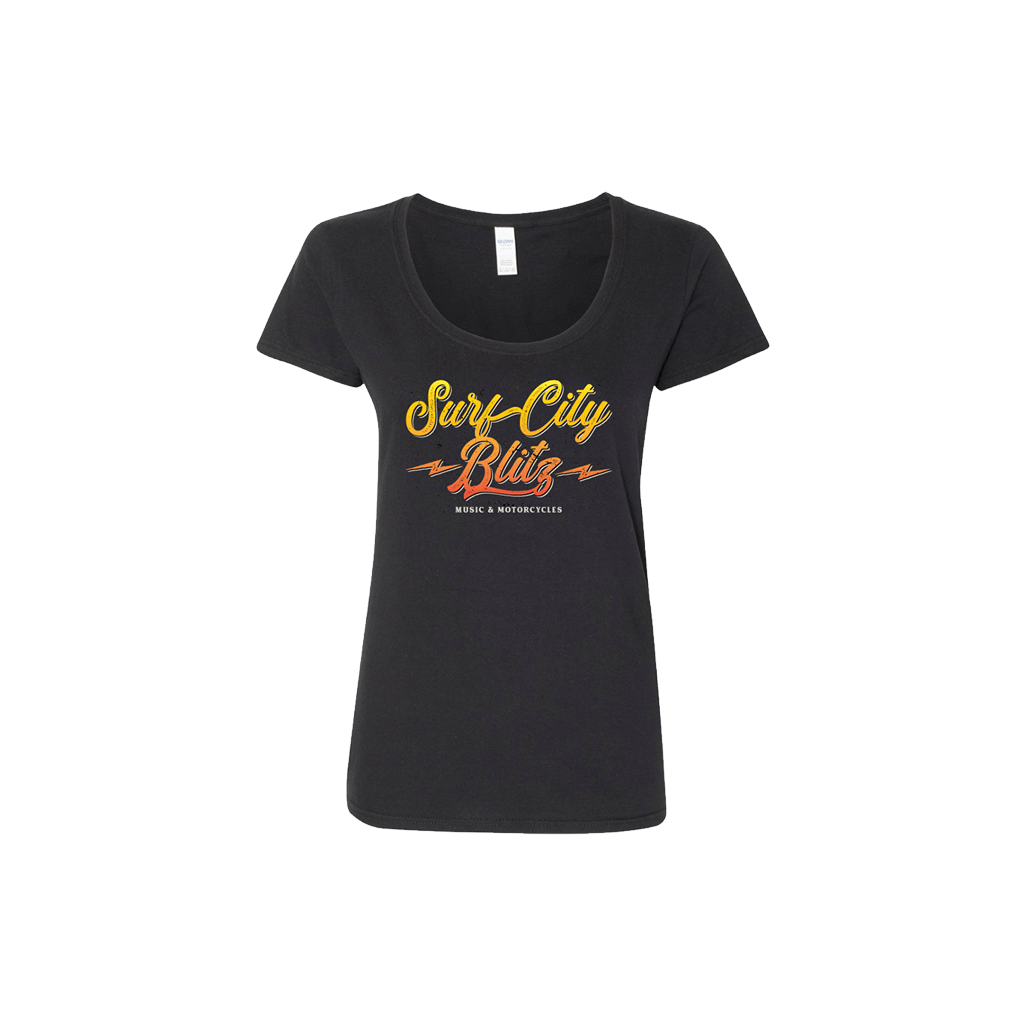 Ladies Black Electric Script Scoop Neck Tee