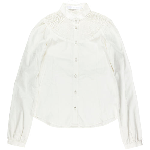 Veronique Branquinho Ribbed Mandarin Bone Shirt - AW02