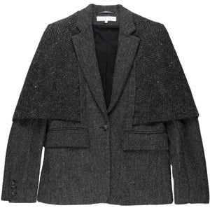 Veronique Branquinho Grey Tweed Herringbone Capelet Blazer - AW03