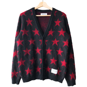 Wacko Maria Black/Red Mohair Star Cardigan - AW12