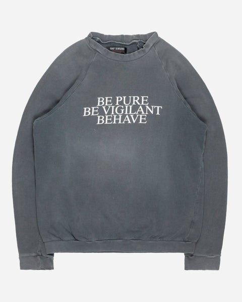"Raf Simons ""Be Pure Be Vigilant Behave"" Crewneck Sweatshirt - SS02 ""Woe On Those Who Spit On The Fear Generation…"""
