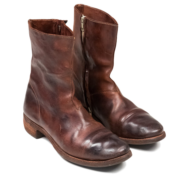Carol Christian Poell Burgundy Side Zip Boot