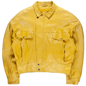 Claude Montana Idéal Cuir Yellow Flight Leather Jacket