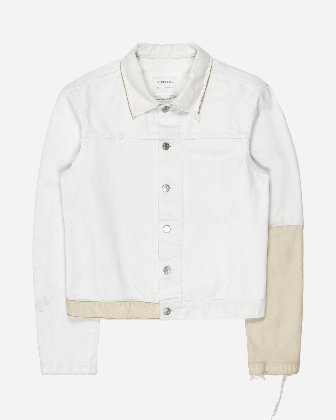 Helmut Lang Beige Leather Sleeve Denim Jacket - SS03