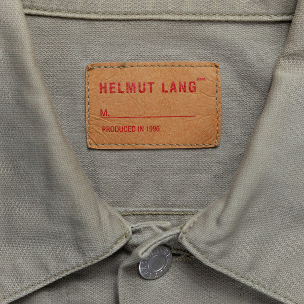 Helmut Lang Taupe Painted Stripe Denim Jacket - AW96