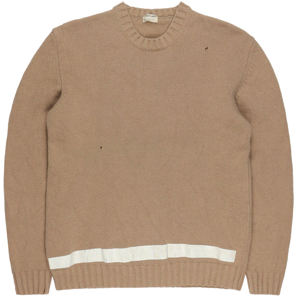 Helmut Lang Beige Painted Stripe Sweater - AW96