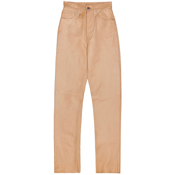 Helmut Lang Peach High Waisted Leather Jeans