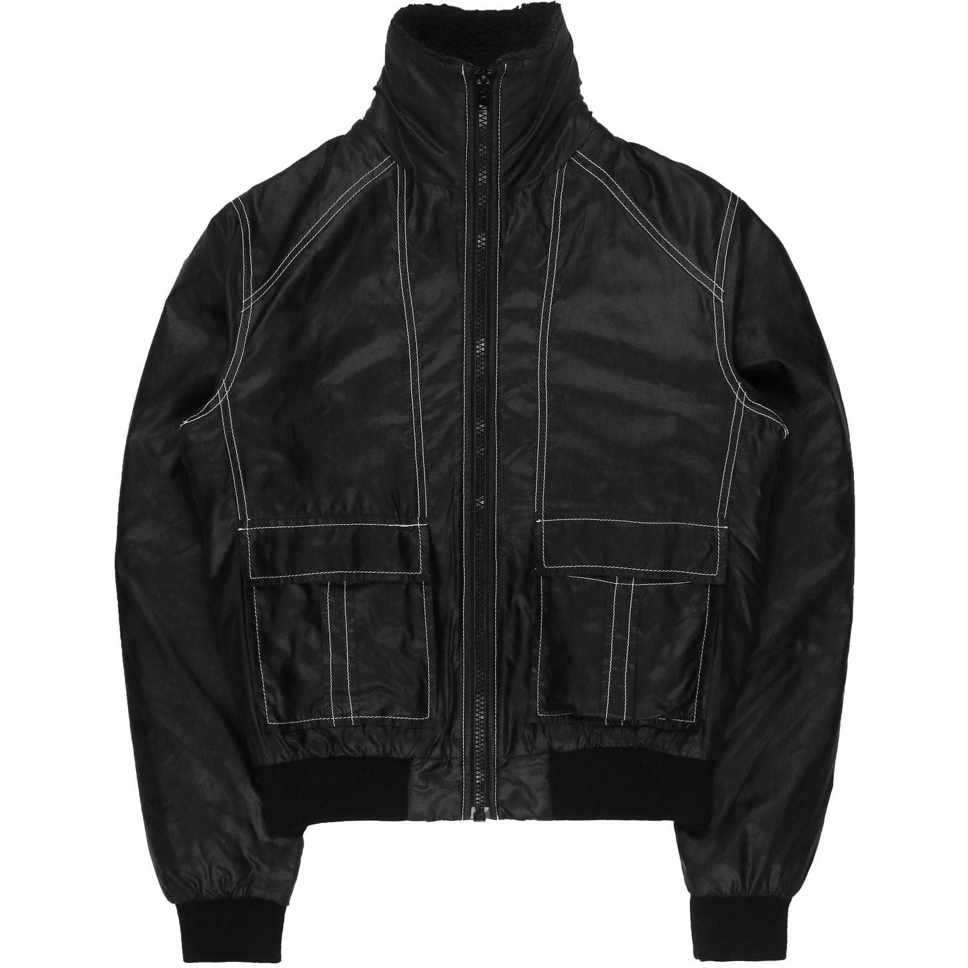 Maison Martin Margiela High Neck Contrast Stitched Nylon Jacket - AW07