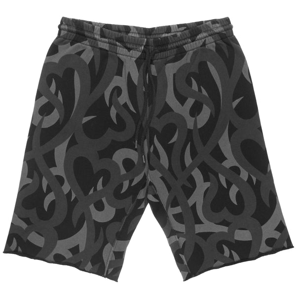 "Number (N)ine Tribal Heart Camo Shorts - AW04 ""Give Peace a Chance"""