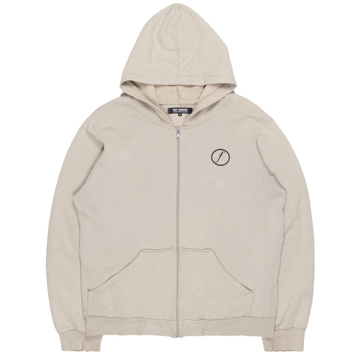 "Raf Simons Beige Factory Records Zip-Up Hoodie - AW03 ""Closer"""