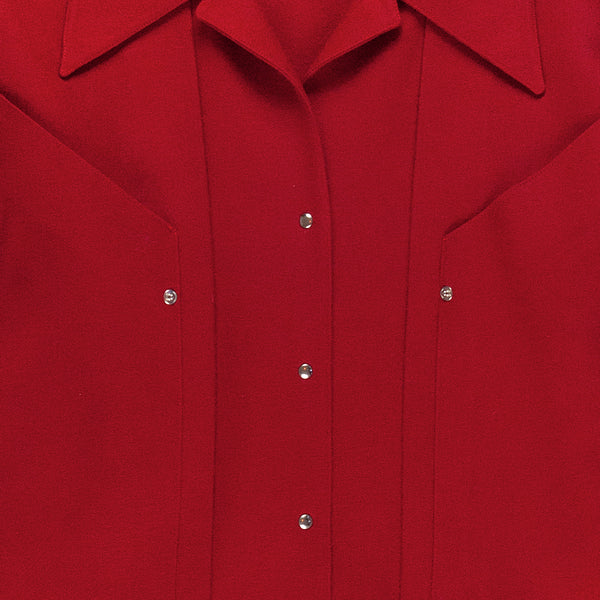 Thierry Mugler Worsted Wool Scarlet Blouse - 1980s