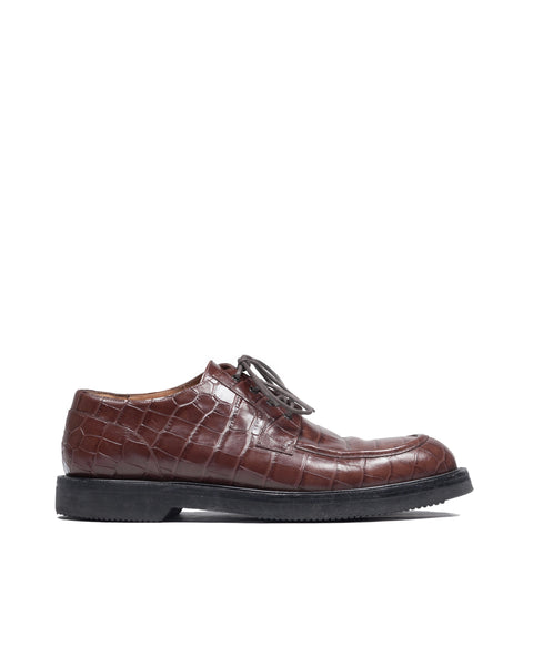 Dries Van Noten Crocodile Embossed Leather Oxfords