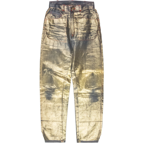 "Vivienne Westwood Semi-Finished Metallic Gold Denim - AW92 ""Always On Camera"""