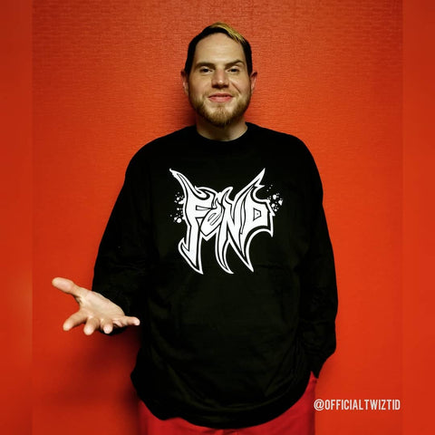 Jamie Madrox from Twiztid wearing his FEND logo design