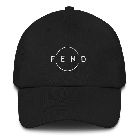 Black cap featuring the FEND circle logo