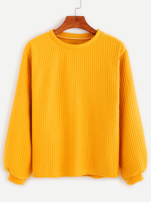 Ribbet Knit Sweatshirt
