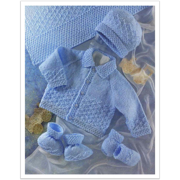 Instant Download PDF Knitting Pattern Baby Girls 3ply Matinee Jacket Bonnet /& Bootee Set To fit 14\u201d to 20\u201d Chests