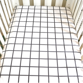 Cream Empire - Fitted Cot Sheet - Grid