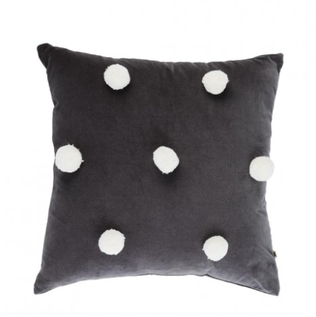 Bonnie and Neil - Cushion - Grey Pom Pom White