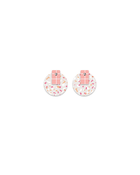 Moe Moe Design - Warm Tones Terrazzo Grid Layered Medium Circle Stud Earrings