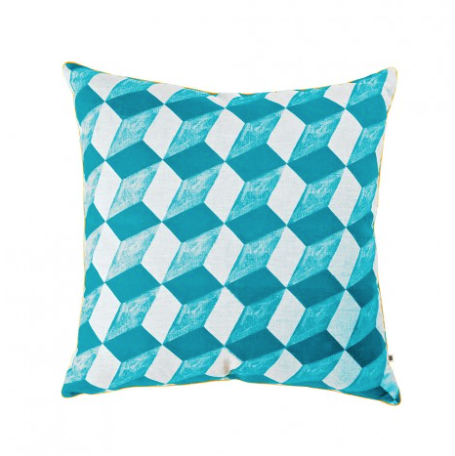 Bonnie and Neil - Cushion - Tumbling Blocks Turquoise