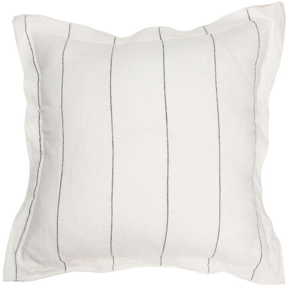 Eadie Lifestyle - Carter Cushion - White With Charcoal Pinstrip 50x50