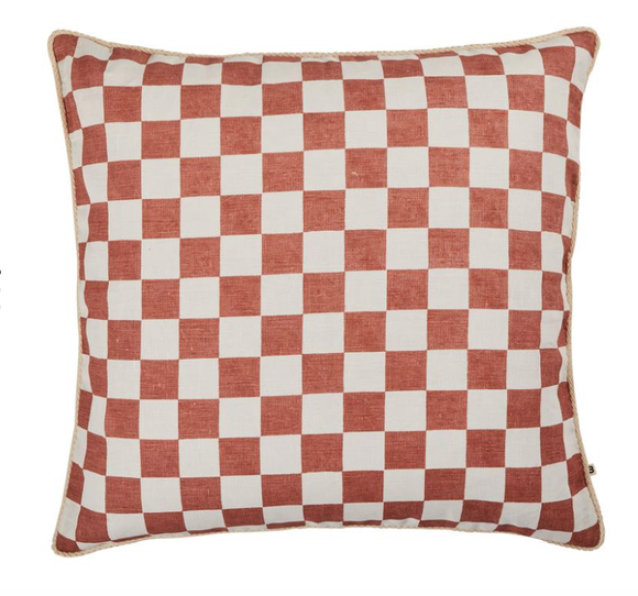 Bonnie and Neil - Floor Cushion - Small Checkers Terracotta