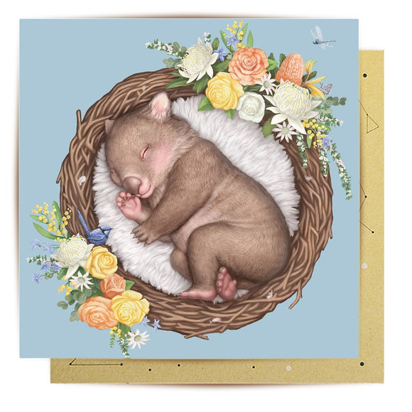 La La Land - Nested Baby Wombat - Mini Card
