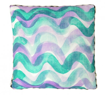 Bonnie and Neil - Cushion - Big Waves Purple/Green