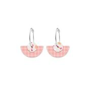 Moe Moe Design - Warm Tones Terrazzo Grid Layered Medium Moon Hoop Earrings