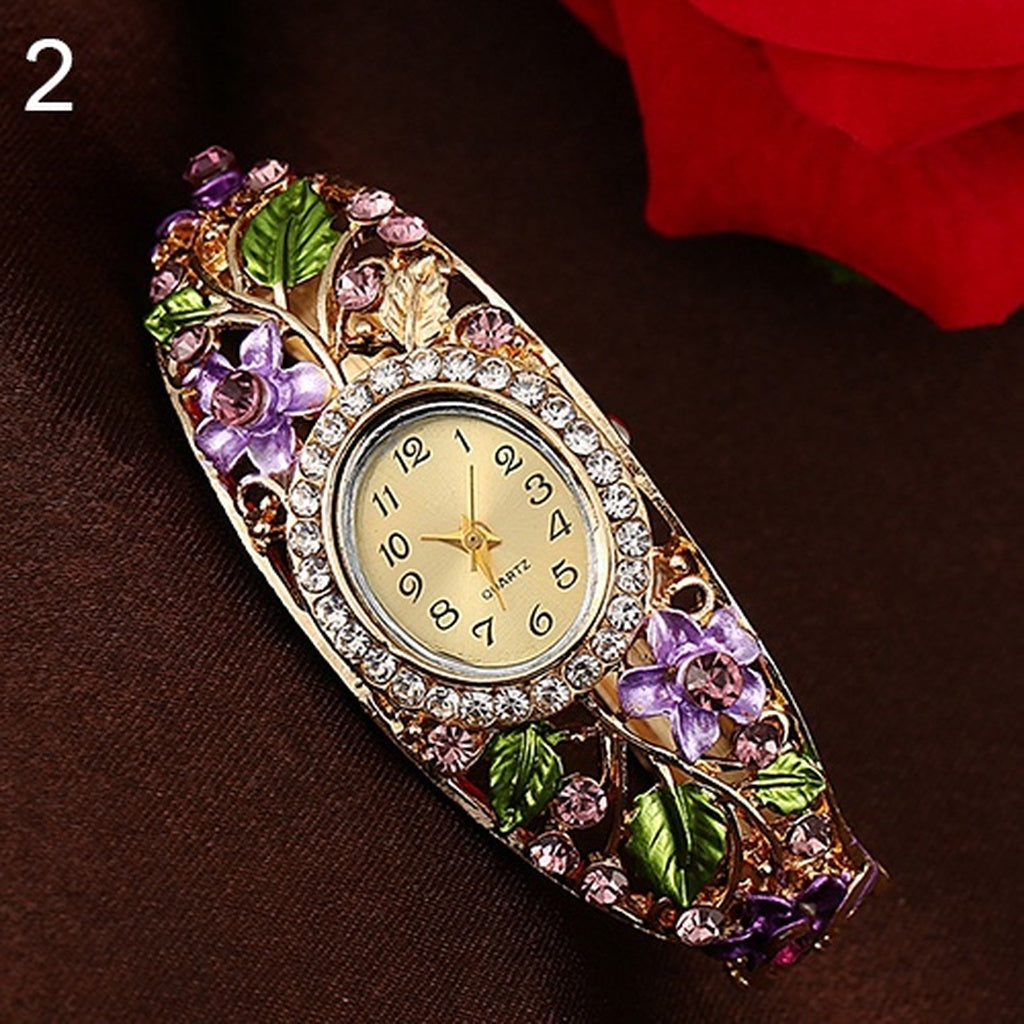 Women's quartz watch-bracelet with floral ornaments and inlay - Always Happy Shopping