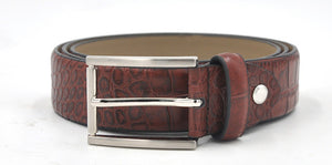 Male belt made of crocodile skin, classic style, usual large and tall sizes - Always Happy Shopping