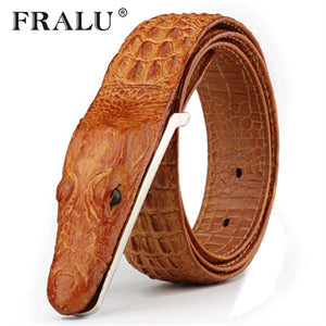 Designer man's belt from a natural leather with imitation of a crocodile - Always Happy Shopping