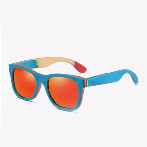 EZREAL Skateboard Wooden Sunglasses Blue Frame With Coating Mirrored - Always Happy Shopping
