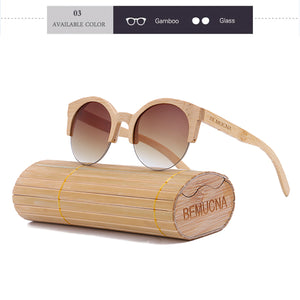 Fashionable designer Unisex sunglasses in a bamboo case, model 2018 - Always Happy Shopping