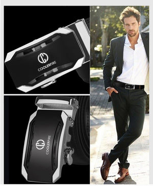 COOLERFIRE Belt Men Top Quality Genuine Luxury Leather for Men,Strap Male Metal Automatic Buckle ZD053 - Always Happy Shopping